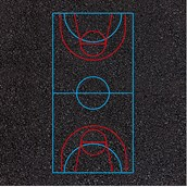 Combined Football and Basketball Court Markings - 30x17m