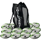 Gilbert G-TR3000 Training Rugby Ball - White/Green - Size 4 - Pack of 12