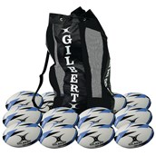 Gilbert G-TR3000 Training Rugby Ball - White/Blue - Size 5 - Pack of 12