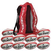 Gilbert G-TR4000 Training Rugby ball - White/Red - Size 3 - Pack of 12