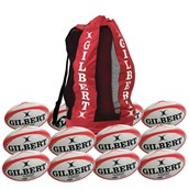 Gilbert G-TR4000 Training Rugby Ball - White/Red - Size 4 - Pack of 12
