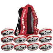 Gilbert G-TR4000 Training Rugby Ball - White/Red - Size 5 - Pack of 12