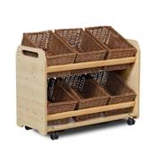 Millhouse Tilt Tote Storage Trolley with Wicker Baskets