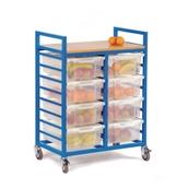 Storage Trolley With Trays Blue Frame