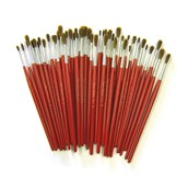 Red Goat Hair Brushes - Round - Assorted Sizes - Pack of 50