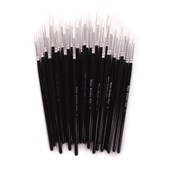 White Synthetic Sable Brushes - Round - Assorted Sizes - Pack of 30
