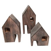 Wood Block Houses - Pack of 3