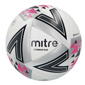 Mitre Ultimatch Plus Football - White/Silver/Pink - Size 5