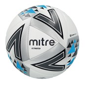 Mitre Ultimatch Football - White/Silver/Blue - Size 4