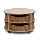 Millhouse Circular Storage Unit and Wicker Baskets