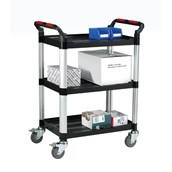 Plastic Tray Trolley with 3 Shelves