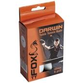Fox TT Darwin 1 Star Table Tennis Balls - White - Pack of 6