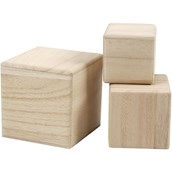 Natural Wooden Cubes - Pack of 3