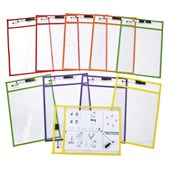 Reusable Write on, Wipe Off Learning Pockets - Pack of 10
