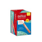 Berol Broad Tipped Colour Markers Assorted, Bullet Tip - Pack of 12