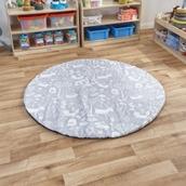 Woodland Print Grey Round Floor Mat