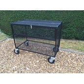 Lockable Mesh Trolley with Outdoor Wheels - Black