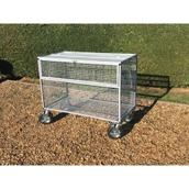 Lockable Mesh Trolley with Outdoor Wheels - Grey
