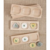 Wooden Word Building Trays 3 Section- Pack of 6