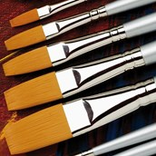 Specialist Crafts Student Synthetic Brush Set - Flat - Long Handled