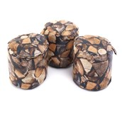 Logpile Print Textiles 3 Round Poofe - pack of 3