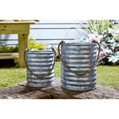 Metal Rope Handled Planters - pack of 2 from Hope Education