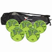 Precision Fusion Indoor Football - Yellow/Black - Size 4 - Pack 5