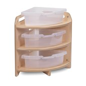 Millhouse Tall 90 Degree Corner Unit with 3 Clear Tubs