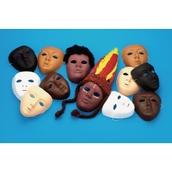 Multicultural Plastic Face Masks - Pack of 10