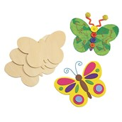 Wooden Butterfly Shapes - Pack of 12