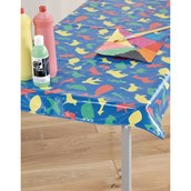 PVC Animal Print Table Cover - Blue