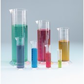 Plastic Measuring Cylinders: Mixed Volume - Pack of 7