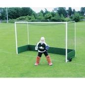 Harrod Sport Free Standing Hockey Goal - White - Practise Backboard - Pair
