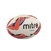 Mitre Squad Rugby Ball - White/Red/Navy - Size 4