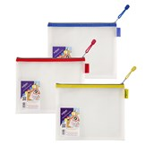 Snopake EVA Mesh Zippa-Bags Assorted A5 - pack of 3