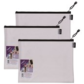 Snopake EVA Mesh Zippa-Bags Black Foolscap - pack of 3