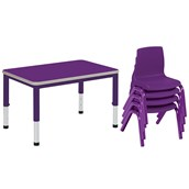 Harlequin Small Rectangular Table and 4 Chairs Bundle