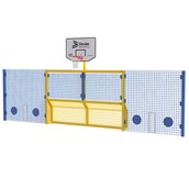 Primary 5-a-Side Goal With Basketball Ring and High Cricket Side Panels - Yellow Frame