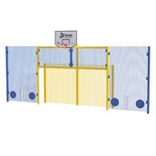 Open Football Goal With Basketball - Cricket Side Panels and Rebound Wall - Yellow Frame - Full Height