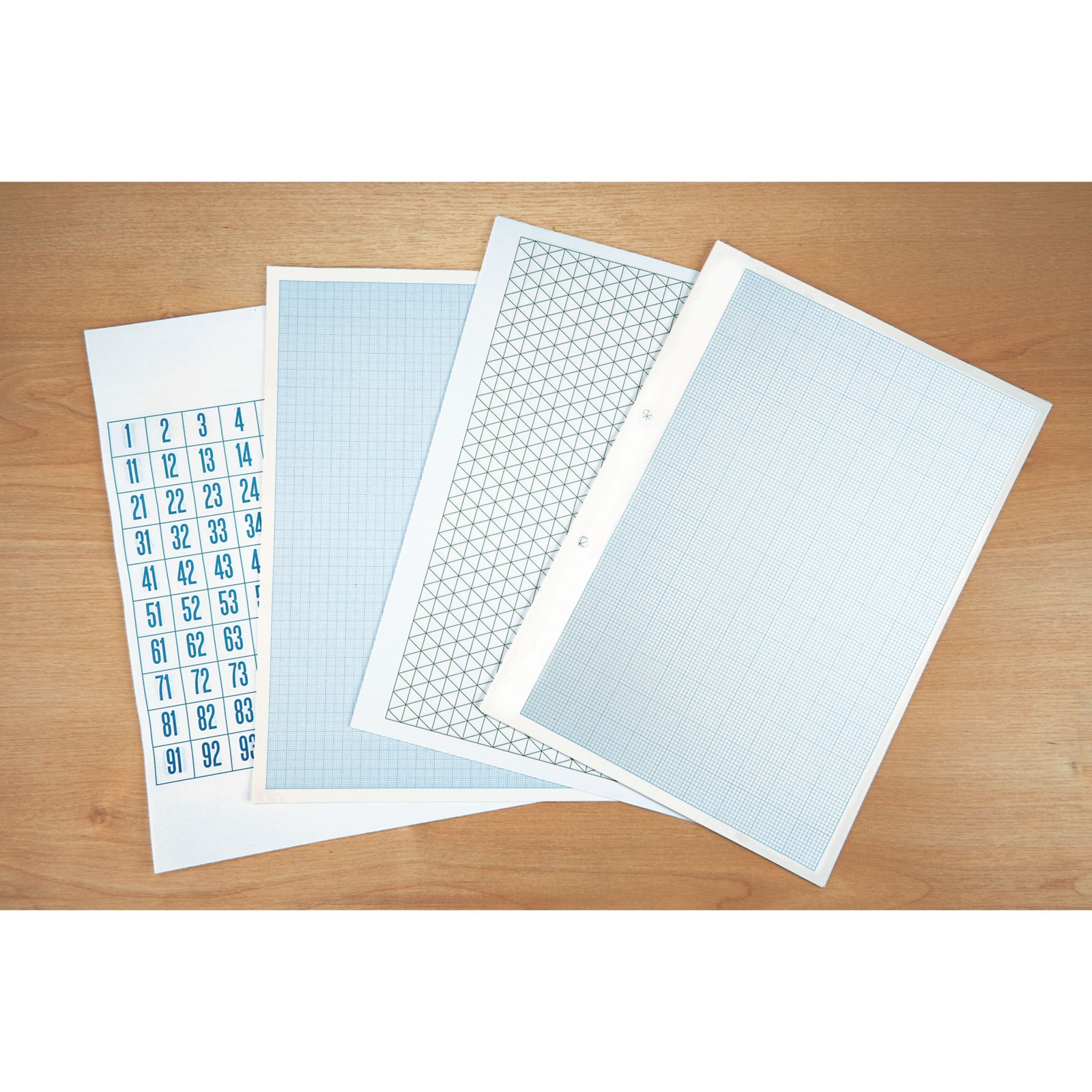 A4 Maths Paper, 2, 10 and 20mm Squared, Unpunched - 1 Ream