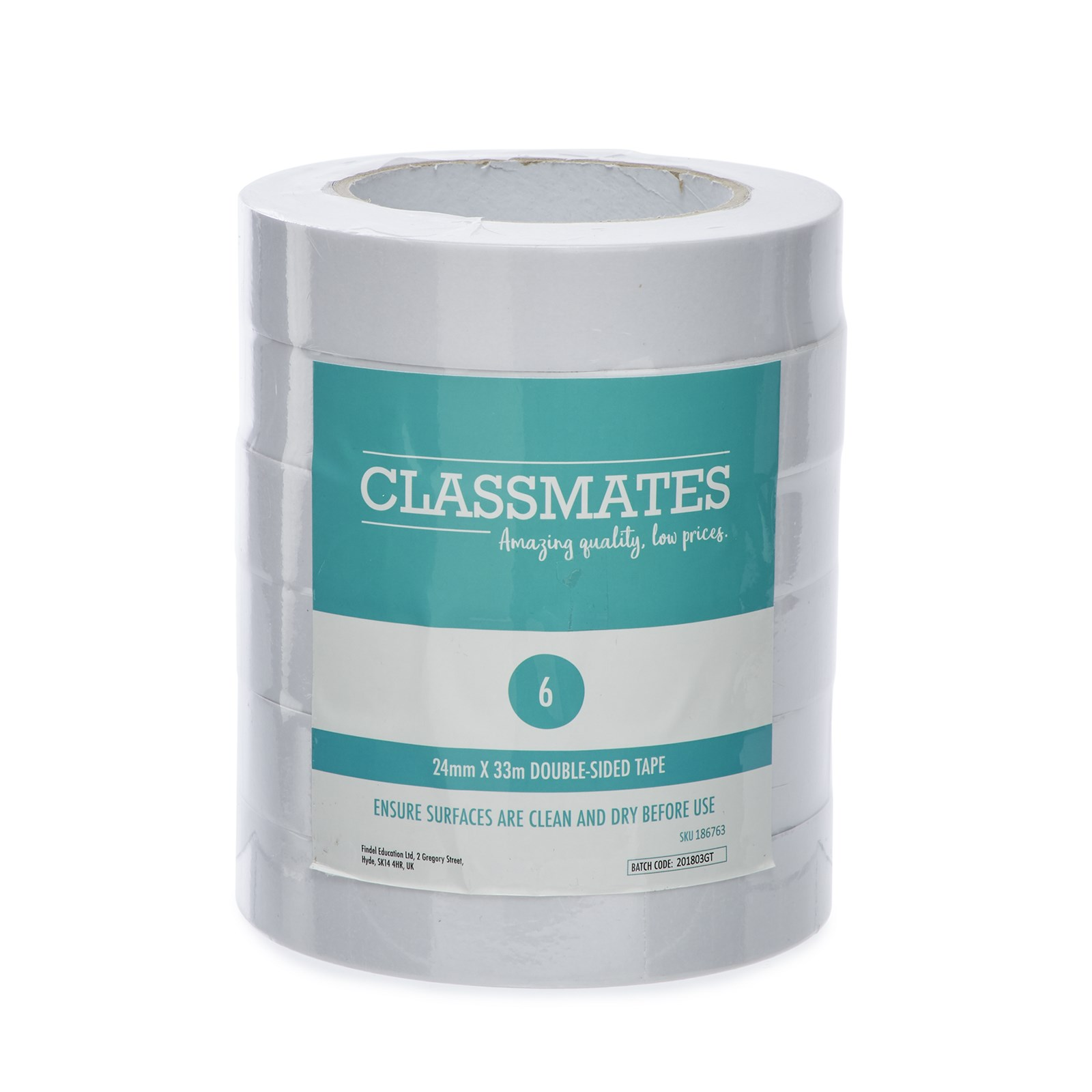 Classmates Double Sided Tape 24mm 33m Pack Of 6 Gls