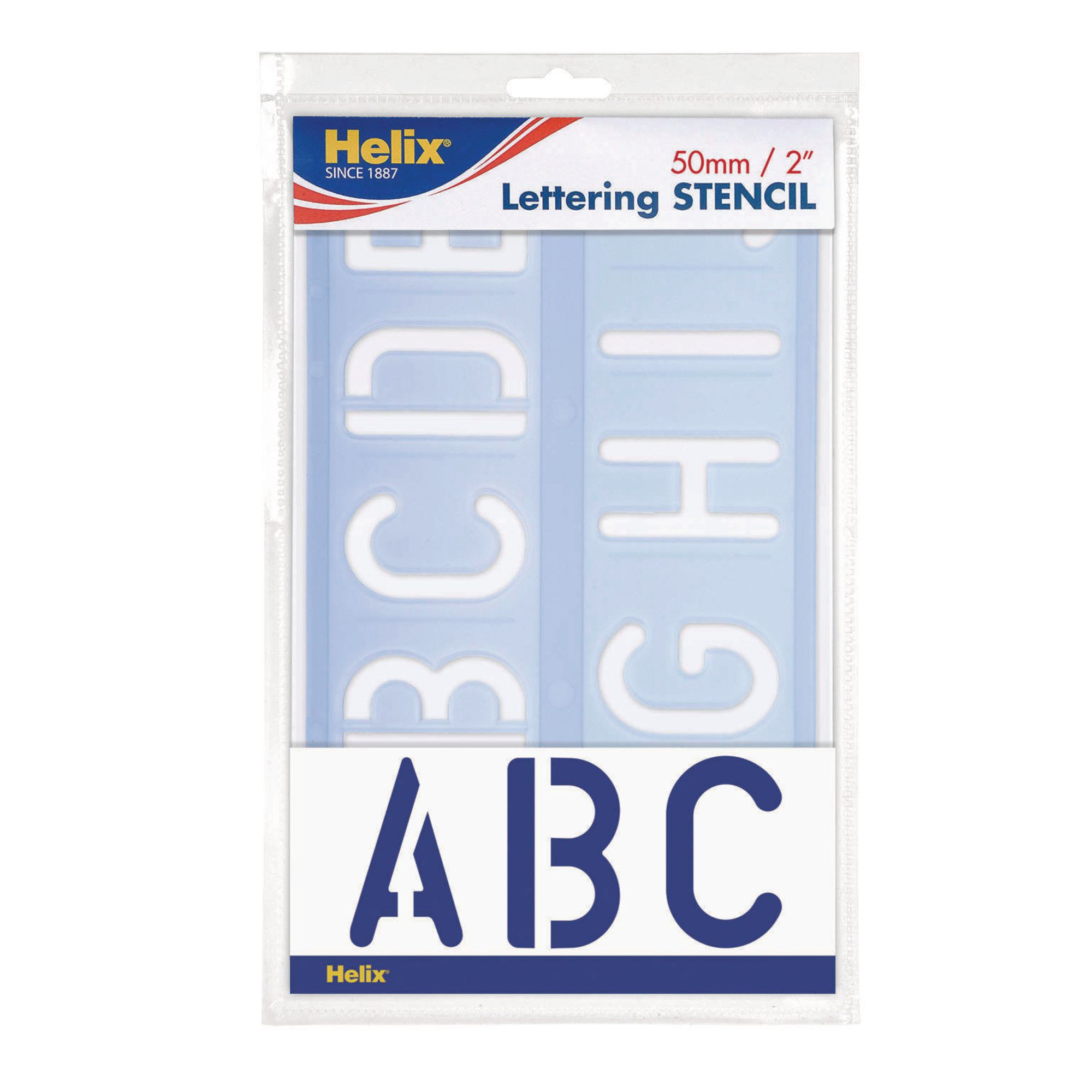 Helix Stencil Set of Letters Numbers and Symbols 50mm Upper /& Lower Case 4-piece