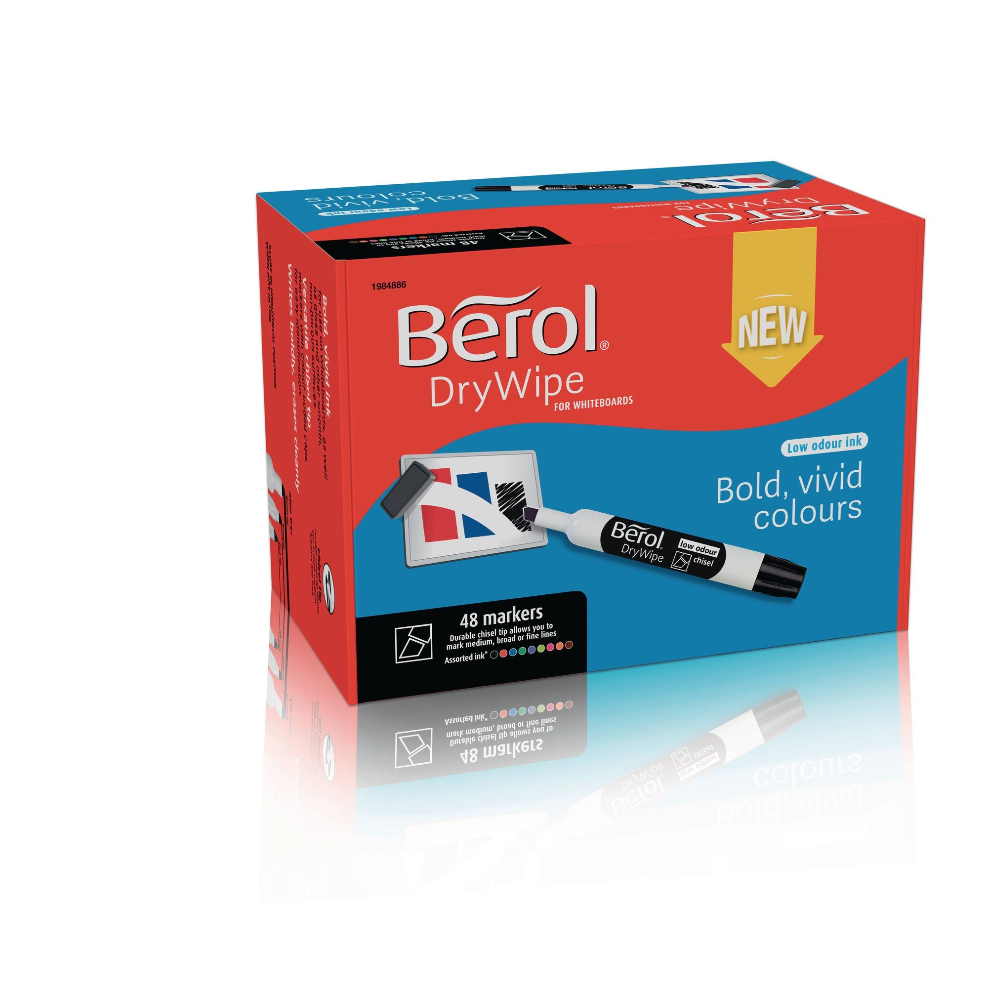 Berol Whiteboard Marker Assorted, Chisel Tip - Pack of 48