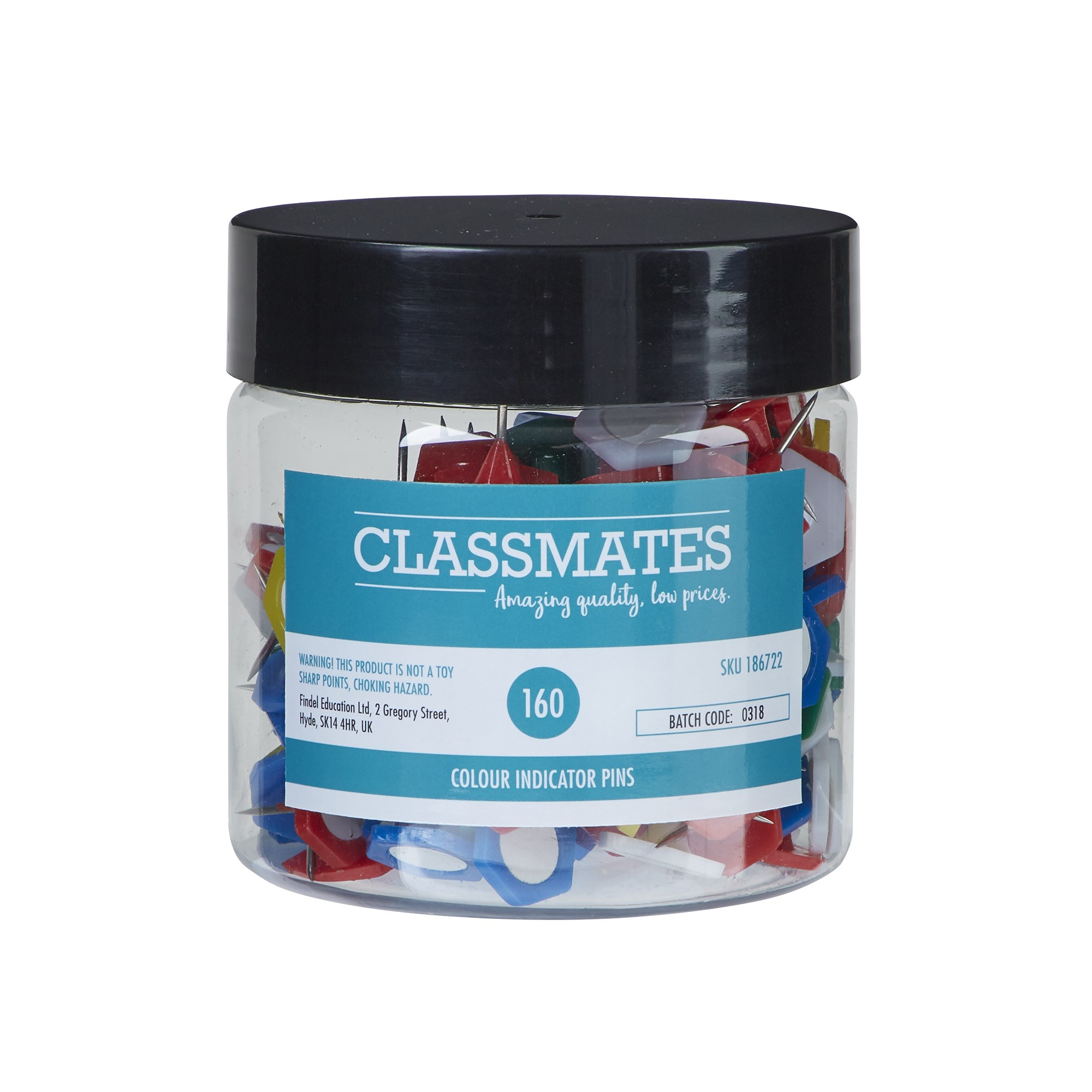 Classmates Indicator Pins Assorted - Pack of 160