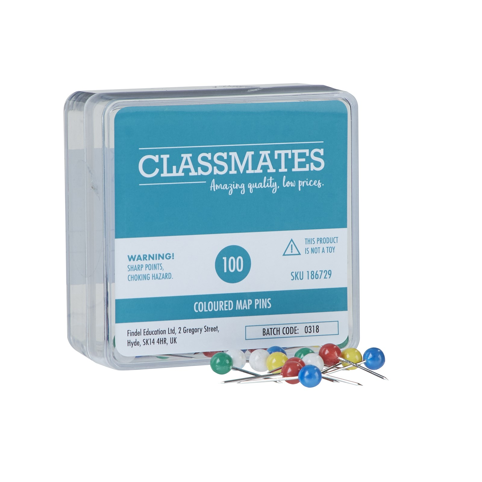 Classmates Map Pins Assorted - Pack of 100