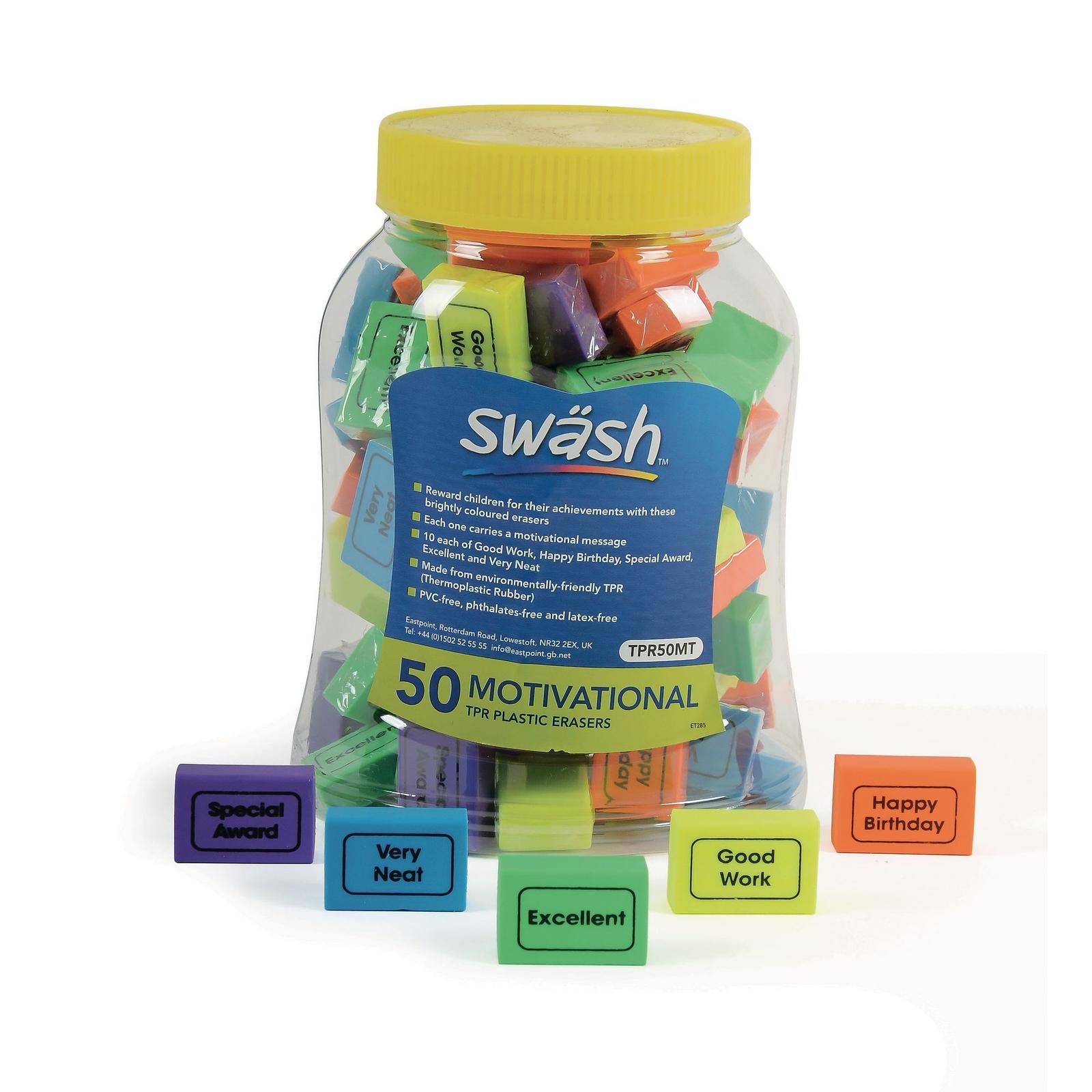 Swash EraserAssorted - Pack of 50