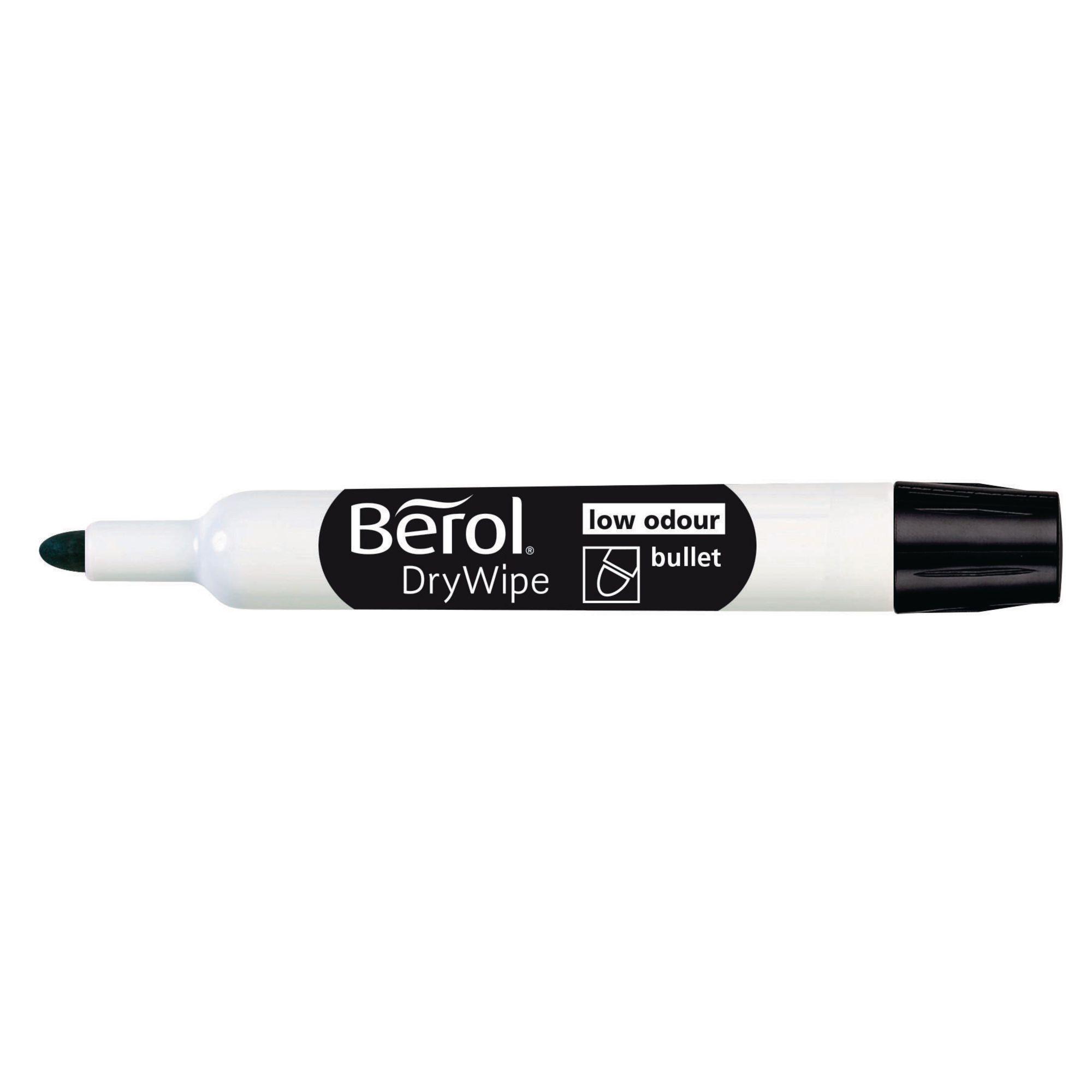 Berol Dry Wipe Bullet Tip Whiteboard Marker Pack of 48 Black