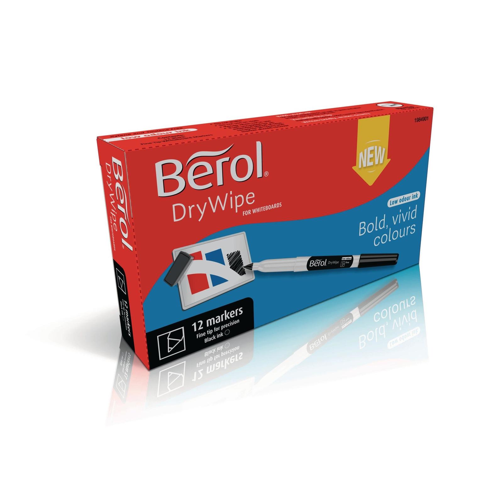 Berol Whiteboard Marker Pens Black Fine Tip Pack Of 12 Twelve
