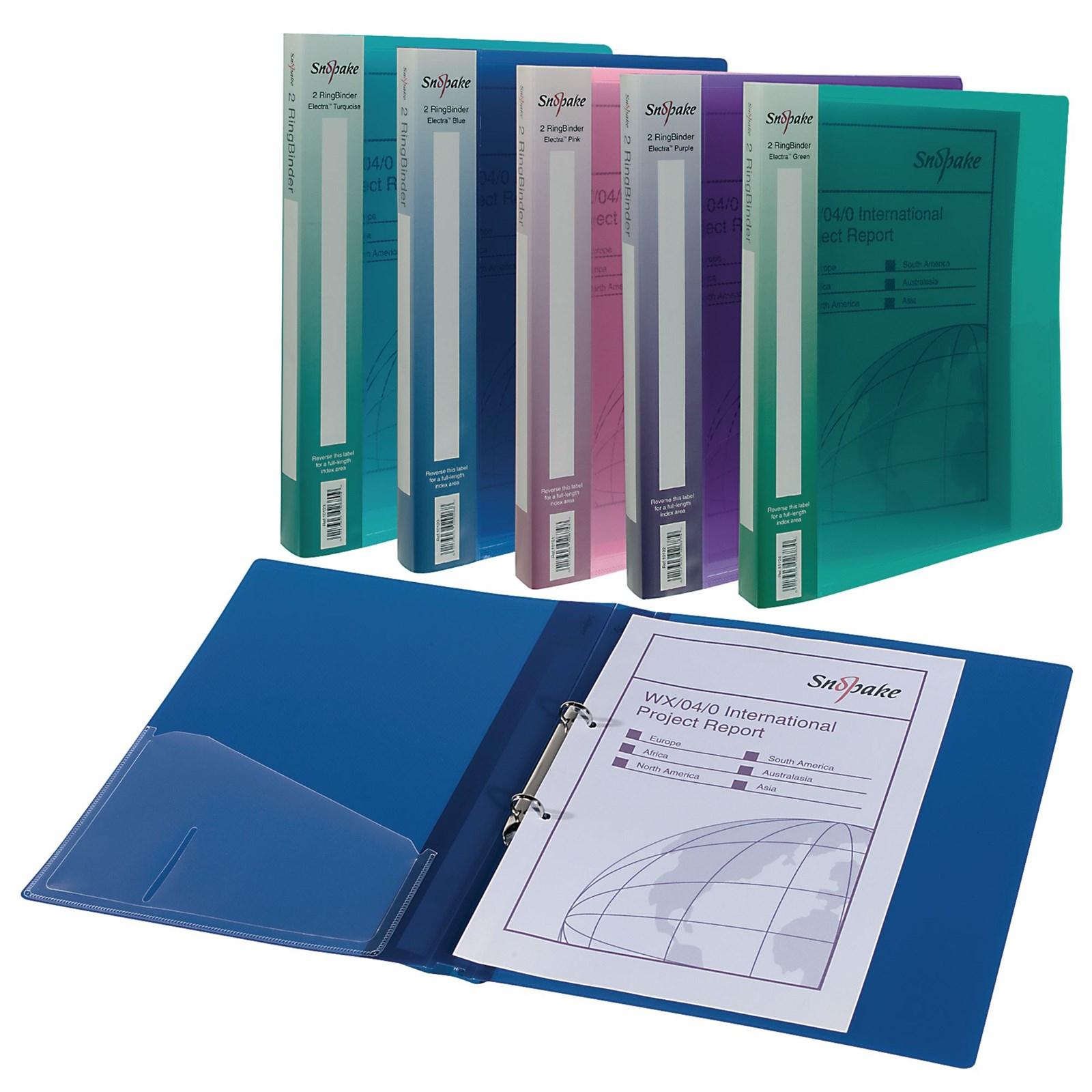 Snopake A4 Ring Binder Assorted - Pack of 10