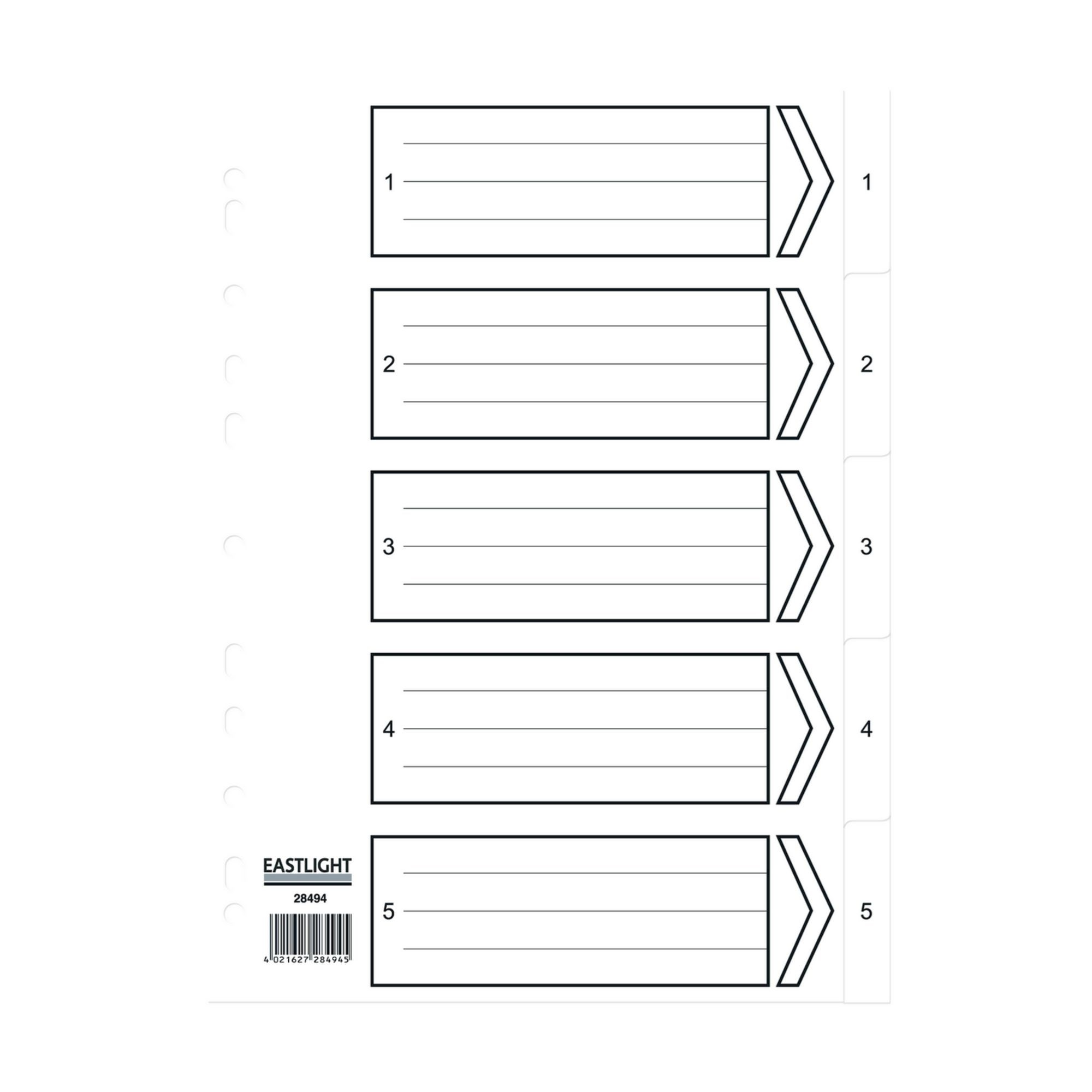 Concord Dividers White Polypropolyne 1-5 (Pack of 5)